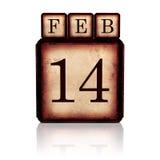 14 februari op 3d houten kubussen Stock Afbeeldingen