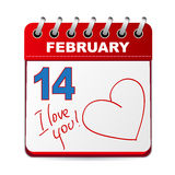 14 february. Calendar with hand drawn lettering and big heart vector illustration