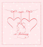 14 february. Valentine`s day card Stock Illustration