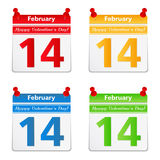 14 February. Calendar pages with 14 february and valentines day congratulation Stock Photo