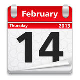 14 February. Calendar with 14 february on white background Royalty Free Stock Image