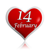 14 February red heart. 14 February 3d red heart banner with white text, seasonal holiday concept royalty free illustration