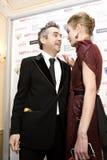 14 FEVEREIRO 2008: Natalia Vodianova e diretor Fotografia de Stock Royalty Free