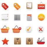 14 icone rosse di acquisto Immagine Stock Libera da Diritti