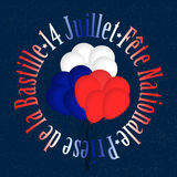 14 Juillet France National Holiday. Blue,white and red balloons into circular french text over starry sky.Illustration for the Bastille Day Vector Illustration