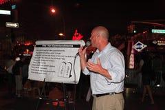 14 nyc Straße des Predigers der geöffneten Luft Lizenzfreie Stockfotos
