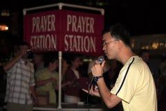 14 nyc Straße des Predigers der geöffneten Luft Stockbild