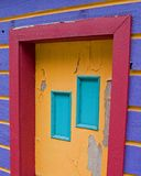 14 Purple house. Brightly colored mountain town building stock photos