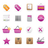 14 Purple Shopping Icons. A group of coloured shopping icons set Stock Image