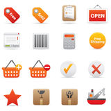 14 Red Shopping Icons. Professional vector set for your website, application, or presentation. The graphics can easily be edited colored individually and be Royalty Free Stock Image