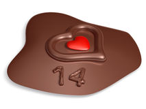14 typography and heart on meltting chocolate Stock Photo