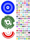 140 Circle Graphic Elements. 140 Vector Circle Elements with splat and grunge effects stock illustration