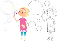 1435 - Girl with soap bubbles. Girl with soap bubbles - color and outline illustration stock illustration
