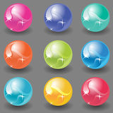 145-icon-balls(gray)(1).jpg. Isolated colored glass balls with shadow on gray background Stock Photos