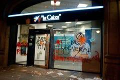 14N General European Strike. BARCELONA, SPAIN. NOVEMBER 14TH: Damaged banks during the European General Strike on 14/November/2012 in Barcelona Spain Stock Image
