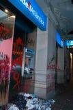 14N General European Strike. BARCELONA, SPAIN. NOVEMBER 14TH: Damaged banks during the European General Strike on 14/November/2012 in Barcelona Spain Royalty Free Stock Photography