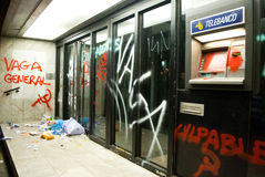 14N General European Strike. BARCELONA, SPAIN. NOVEMBER 14TH: Damaged banks during the European General Strike on 14/November/2012 in Barcelona Spain Royalty Free Stock Photo