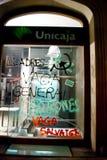 14N General European Strike. BARCELONA, SPAIN. NOVEMBER 14TH: Damaged banks during the European General Strike on 14/November/2012 in Barcelona Spain Royalty Free Stock Images