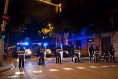 14N General European Strike. BARCELONA, SPAIN. NOVEMBER 14TH: Unidentified policemen at the European General Strike on 14/November/2012 in Barcelona Spain Stock Images