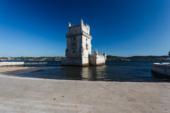 The 14th century Belem Tower manueline style fortress in the Tagus river Royalty Free Stock Image