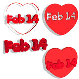 14th feb in 4 styles. Isolated on white background in 3D vector illustration
