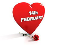 14th February - Red heart and rose. Perfect for Valentines Day - 3D render of red heart and a red rose with the 14th February date on it Stock Images