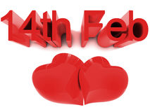 14th February St. Valentines Day. 14th February, St. Valentines Day. 3D render concepts Stock Images