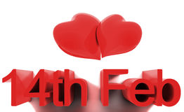 14th February St. Valentines Day. 14th February, St. Valentines Day. 3D render concepts Stock Photo