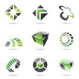 15抽象黑色绿色图标集 免版税库存图片