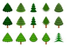 15棵针叶树被设置的向量 免版税库存图片