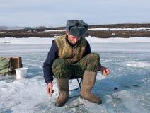 15钓鱼的冬天 免版税库存图片