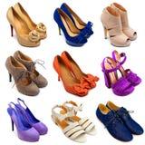 15 θηλυκά πολύχρωμα παπούτσια Στοκ Φωτογραφίες