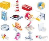 15 предметов икон разделяют установленный вектор Стоковые Фото