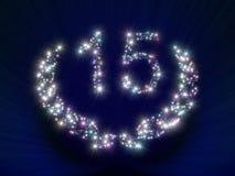 15 αστέρια αριθμού επετείου Στοκ Φωτογραφία