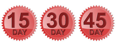 15,30 and 45 day seal. Vector art of a 15,30 and 45 day return guarantee Stock Image