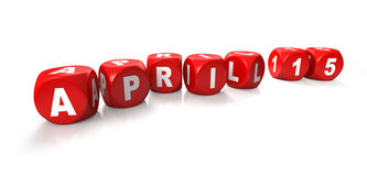 15 april kuber tärnar röd stavning Royaltyfria Bilder