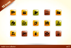 15 Beautiful glossy Shiny Icons. Media collection - set 01 Royalty Free Stock Photos