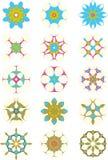 15 bleus et ornements pourprés d'étoile Photographie stock libre de droits