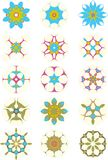 15 blue and purple star ornaments. Collection of 15 star ornaments in purple blue green royalty free illustration