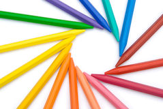 15-color crayon lined up. In circle with clipping path Royalty Free Stock Image