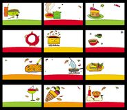15 colorful food cards. Vector set. To see similar, please VISIT MY PORTFOLIO Royalty Free Stock Photography