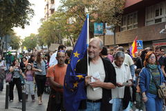 15 de beweging van oktober in Girona, Spanje Royalty-vrije Stock Foto's