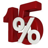 15% discount. 15 percent off sale sign 3d image Stock Images
