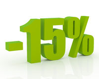 15% discount. Olive green 3D signs showing 15% discount and clearance stock illustration