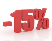 15% discount. Red 3D signs showing 15% discount and clearance royalty free illustration