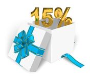 15% discount concept. Shiny golden 15% in white gift box with blue ribbon Royalty Free Stock Photos