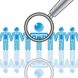 15. Employee Search In Blue. Stock Photos