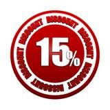 15 escritura de la etiqueta roja del círculo del descuento 3d de los porcentajes Imágenes de archivo libres de regalías