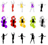 15 Female Fashion Silhouettes. An illustration featuring your choice of 15 fashion silhouettes in various poses wearing colourful outfits Royalty Free Stock Images