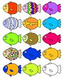 15 Fish. Illustration of 15 colorful fish, one is left for you to color yourself Royalty Free Stock Image